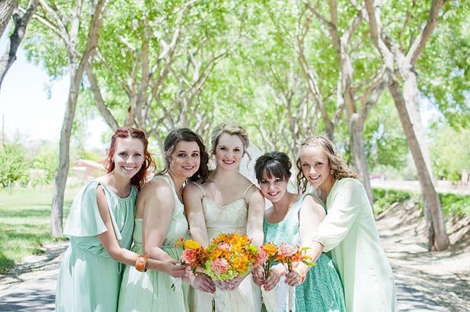 Casamento hortelã e laranja